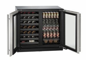"3036BVWCINT-00B U-Line Modular 3000 Series 36"" Beverage Center with Double Doors - Integrated Frame"
