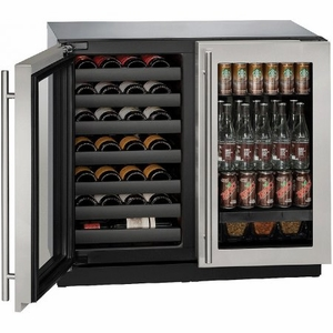 "3036BVWCS-00B U-Line Modular 3000 Series 36"" Beverage Center with Double Doors - Stainless Frame"