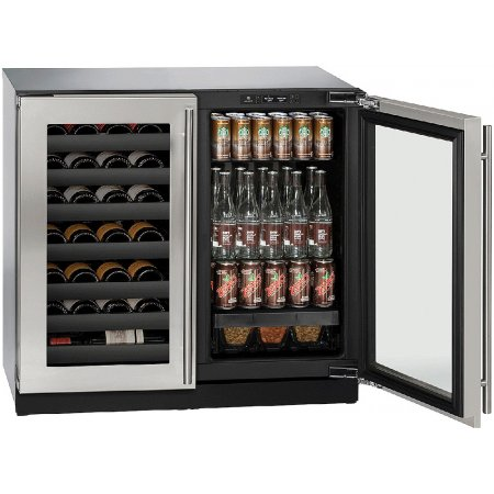 """3036BVWCS00B U-Line Modular 3000 Series 36"""" Beverage Center with Double Doors - Stainless Frame"""