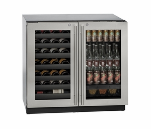 """3036BVWCS13B U-Line Modular 3000 Series 36"""" Beverage Center with Double Doors and Lock - Stainless Frame"""