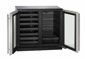 "3036BVWCS-13B U-Line Modular 3000 Series 36"" Beverage Center with Double Doors and Lock - Stainless Frame"