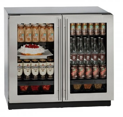 """3036RRGLS13B U-Line Modular 3000 Series 36"""" Glass Double Door Refrigerator with LED Interior Lighting and OLED Display - With Lock - Stainless Steel Frame"""