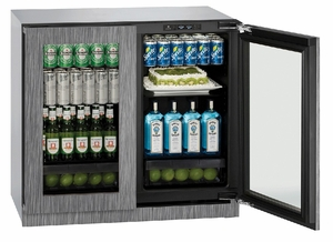 """3036RRGLINT-00B U-Line Modular 3000 Series 36"""" Glass Double Door Refrigerator with LED Interior Lighting and OLED Display - Integrated Frame"""