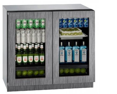 """3036RRGLINT00B U-Line Modular 3000 Series 36"""" Glass Double Door Refrigerator with LED Interior Lighting and OLED Display - Integrated Frame"""