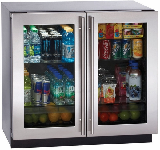 "3036RRGLS-00 U-Line 3000 Series 36"" Undercounter Glass Door Refrigerator  - Stainless Steel"