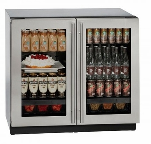 """3036RRGLS00B U-Line Modular 3000 Series 36"""" Glass Double Door Refrigerator with LED Interior Lighting and OLED Display - Stainless Steel Frame"""
