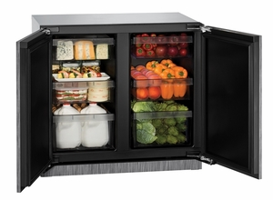 "3036RRINT-00B U-Line Modular 3000 Series 36"" Solid Double Door Refrigerator - Integrated Solid"