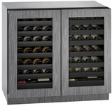 """3036WCWCINT00B U-Line 3000 Modular Series 36"""" Wine Captain with Independently Controlled Dual Zones - Double Doors - Integrated Frame Custom Panel"""