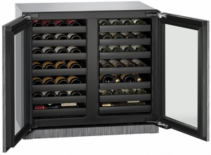 """3036WCWCINT-00B U-Line 3000 Modular Series 36"""" Wine Captain with Independently Controlled Dual Zones - Double Doors - Integrated Frame Custom Panel"""
