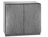 """3036WCWCINT60B U-Line 3000 Modular Series 36"""" Wine Captain with Independently Controlled Dual Zones - Double Doors - Integrated Solid Custom Panel"""