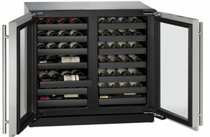 """3036WCWCS00B U-Line 3000 Modular Series 36"""" Wine Captain with Independently Controlled Dual Zones - Double Doors - Stainless Steel"""