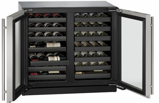 """3036WCWCS13B U-Line 3000 Modular Series 36"""" Wine Captain with Independently Controlled Dual Zones - Double Doors with Lock - Stainless Steel"""