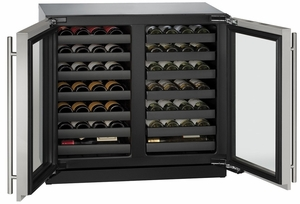 """3036WCWCS-13B U-Line 3000 Modular Series 36"""" Wine Captain with Independently Controlled Dual Zones - Double Doors with Lock - Stainless Steel"""