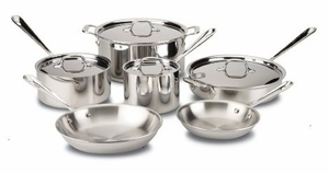 401488R All-Clad Tri-Ply Bonded Dishwasher Safe 10-Piece Cookware Set, Silver