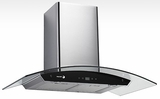 "60CFG36B Fagor 36"" Wall Mounted Black Crystal Hood - Stainless Steel/Black Glass"
