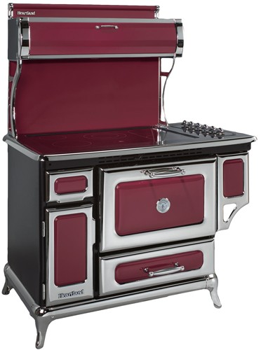 """6210CD0CRN Heartland 48"""" Classic Electric Range with 5 High Performance Ribbon Burners - Cranberry"""
