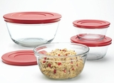 92224 Anchor Hocking 6 Piece Glass Bowl Set with Plastic Lids
