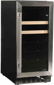 """A115BEVS Azure 15"""" Undercounter Glass Door Beverage Center with Digital Display Control and 4 Glass Shelves - Stainless Steel"""