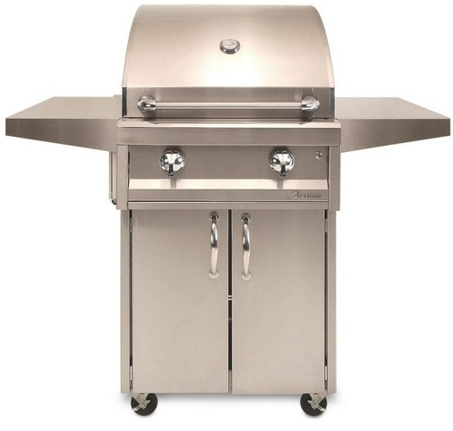 "AAEP26CLP Artisan 26"" American Eagle Series Liquid Propane Grill and Cart with 2 Stainless Steel U-Burners and Push Button Ignition - Stainless Steel"
