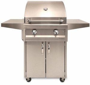 """AAEP26CNG Artisan 26"""" American Eagle Series Natural Gas Grill and Cart with 2 Stainless Steel U-Burners and Push Button Ignition - Stainless Steel"""