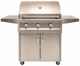 """AAEP32CLP Artisan 32"""" American Eagle Series Liquid Propane Grill and Cart with 3 Stainless Steel U-Burners and Push Button Ignition - Stainless Steel"""
