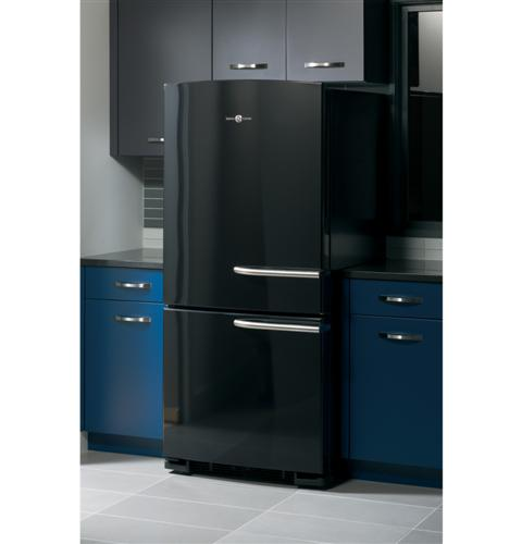 ABE20EGHBS GE Artistry Series Energy Star 20.3 Cu. Ft. Bottom Freezer Refrigerator with Stainless Steel Handles - Black