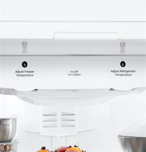 ABE20EGHWS GE Artistry Series Energy Star 20.3 Cu. Ft. Bottom Freezer Refrigerator with Stainless Steel Handles - White