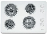 "ACC6340KFW Amana 30"" Electric Cooktop with Chrome Drip Pan - White"