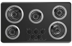"ACC6356KFB Amana 36"" Electric Cooktop With Chrome Drip Pan - Black"