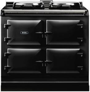 "ADC3EBLK AGA 39"" Dual Control Electric 3 Range with Cast Iron Ovens - Black"