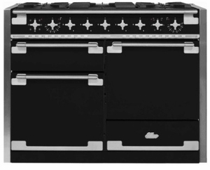 """AEL48DFBLK AGA 48"""" Elise Dual Fuel 3 Oven Range with 5 Sealed Burners and Storage Drawer - Gloss Black"""
