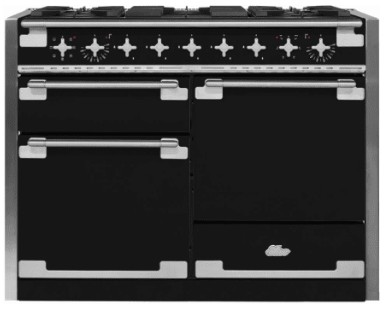 "AEL48DFMBL AGA 48"" Elise Dual Fuel 3 Oven Range with 5 Sealed Burners and Storage Drawer - Matte Black"