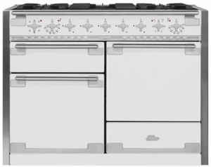 """AEL48DFWHT AGA 48"""" Elise Dual Fuel 3 Oven Range with 5 Sealed Burners and Storage Drawer - White"""