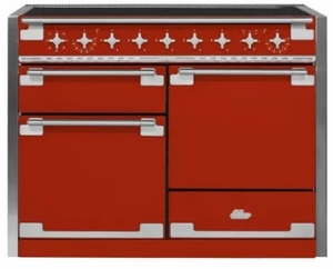 "AEL48INSCR AGA 48"" Mercury Induction 3 Oven Range with 5 Burners and True European Convection - Scarlet"