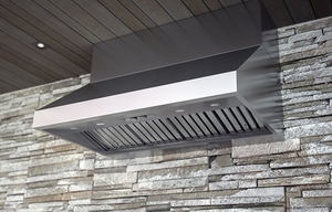 "AK7836BS Zephyr Power Cypress 36"" Outdoor Wall Mount Range Hood with 1200 CFM Blower - Stainless Steel"