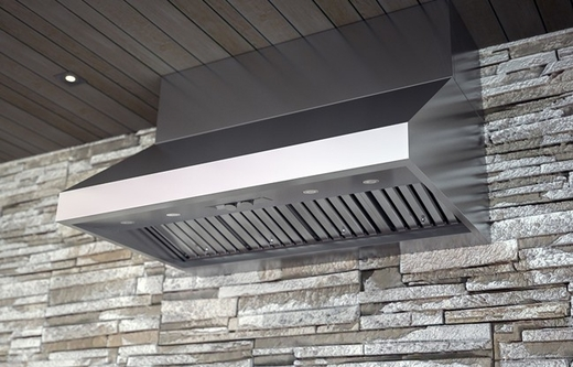 "AK7848BS Zephyr Power Cypress 48"" Outdoor Wall Mount Range Hood with 1200 CFM Blower - Stainless Steel"