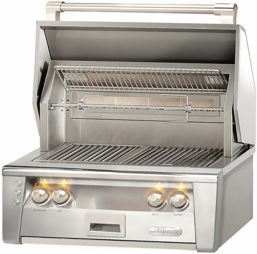 "ALXE30IRLP Alfresco 30"" Built-In All Infra-Red Outdoor Grill with Rotisserie - Liquid Propane - Stainless Steel"