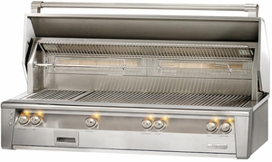 """ALXE56BFG Alfresco 56"""" Jumbo Built-In Outdoor Grill with SearZone - Natural Gas - Stainless Steel"""