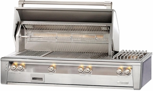 "ALXE56SZLP Alfresco 56"" Built-In Outdoor Grill with SearZone & Sideburner - Liquid Propane - Stainless Steel"