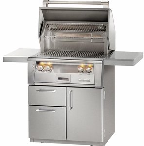"ALXE30IRCD Alfresco 30"" All Infrared Grill with Infrared Rotisserie, SearZone & Deluxe Cart - Natural Gas - Stainless Steel"