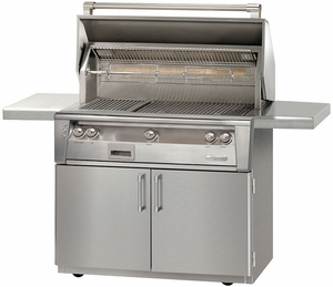 """ALXE42C Alfresco 42"""" 3-Burner Grill with Infrared Rotisserie System & Standard Cart - Natural Gas - Stainless Steel"""