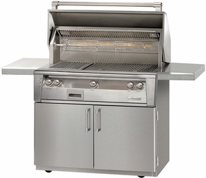 """ALXE42SZCLP Alfresco  42"""" 3-Burner Grill with Infrared Rotisserie & Standard Cart - LP Gas - Stainless Steel"""