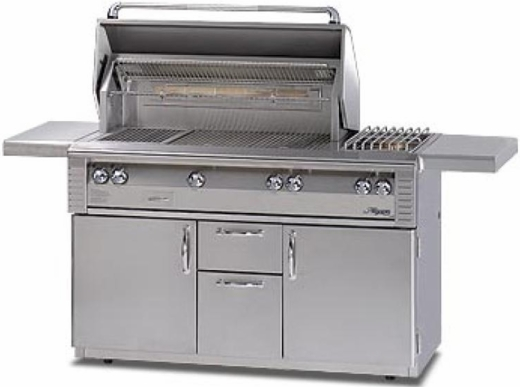 """ALXE56 Alfresco 56"""" Built-In Outdoor Grill with Sideburner - Natural Gas - Stainless Steel"""