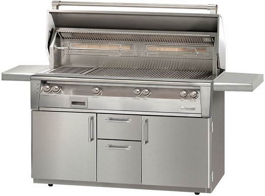 """ALXE56BFGC Alfresco 56"""" Standard All Grill with SearZone and Standard Cart - Natural Gas - Stainless Steel"""