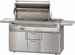 "ALXE56C Alfresco 56"" 3-Burner Grill with Infrared Rotisserie, Standard Cart & Sideburner - Natural Gas - Stainless Steel"