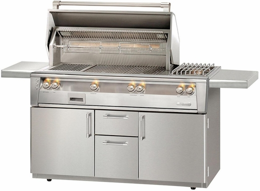 """ALXE56SZC Alfresco 56"""" Grill with SearZone, Deluxe Cart & Sideburner - Natural Gas - Stainless Steel"""