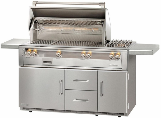 """ALXE56RLP Alfresco 56"""" Outdoor Grill with Rotisserie, Sideburner & Refrigerated Cart Base - LP Gas - Stainless Steel"""