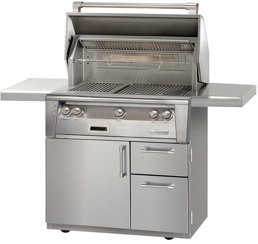 "ALXE36CD Alfresco 36"" 3-Burner Grill with Infrared Rotisserie System & Deluxe Cart - Natural Gas - Stainless Steel"