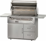 "ALXE42R Alfresco 42"" 3-Burner Grill with Infrared Rotisserie & Refrigerated Cart Base - Natural Gas - Stainless Steel"