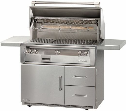"""ALXE42RLP Alfresco 42"""" 3-Burner Grill with Infrared Rotisserie & Refrigerated Cart Base - LP Gas - Stainless Steel"""